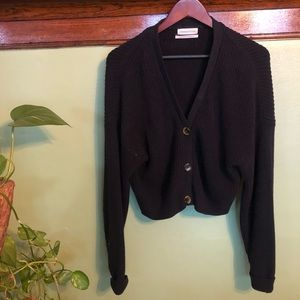 Black Tortoise Button Cardigan